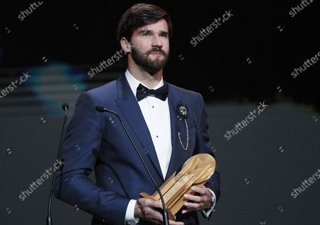 Liverpool goalkeeper Alisson Becker wins the Yashin Trophy as best goalkeeper during the Ballon d'Or ceremony at Theatre du Chatelet in Paris, France, 02 December 2019.