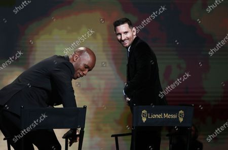 Show host Didier Drogba (L) and Barcelona forward Lionel Messi at the Ballon d'Or ceremony at Theatre du Chatelet in Paris, France, 02 December 2019.