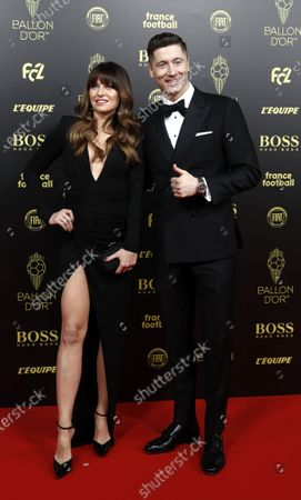 Stock Image of Bayern Munich striker Robert Lewandowski of Poland and his wife Anna Lewandowska arrive for the Ballon d'Or ceremony at Theatre du Chatelet in Paris, France, 02 December 2019.