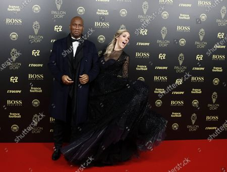 Hosts of the Ballon d'Or ceremony Sandy Heribert (R) and Didier Drogba arrive for the Ballon d'Or ceremony at Theatre du Chatelet in Paris, France, 02 December 2019.