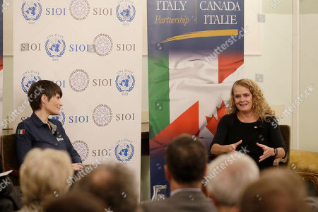 Stock Picture of Canada's General Governor Julie Payette, right, and Italian astronaut Samantha Cristoforetti take part in a discussion on space and science diplomacy, in Rome