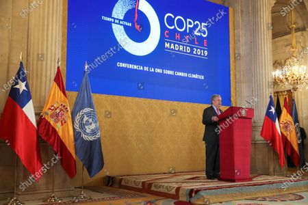 UN General-Secretary Antonio Guterres delivers a speech during a reception held for heads of states at the Royal Palace in Madrid, Spain, 02 December 2019, on the occasion of the UN Climate Change Conference COP25 that runs from 02 to 13 December 2019 in the Spanish capital.