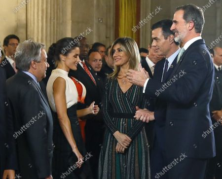 Spanish King Felipe VI (R), Queen Letizia (2-L), UN General-Secretary Antonio Guterres (L), Spanish Prime Minister Pedro Sanchez (2-R) and his wife Begona Gomez (C) attend a reception held for heads of states at the Royal Palace in Madrid, Spain, 02 December 2019, on the occasion of the UN Climate Change Conference COP25 that runs from 02 to 13 December 2019 in the Spanish capital.