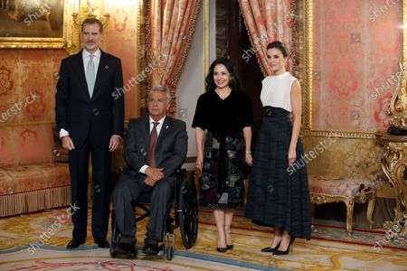 Stock Picture of Spanish Queen Letizia (R) and King Felipe VI (L) welcome Ecuadorian President Lenin Moreno (2-L) and his wife Rocio Gonzalez (2-R) upon arrival at a reception held for heads of states at the Royal Palace in Madrid, Spain, 02 December 2019, on the occasion of the UN Climate Change Conference COP25 that runs from 02 to 13 December 2019 in the Spanish capital.