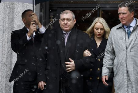 Stock Image of Businessman Lev Parnas (2-L), an associate of US President Donald Trump's personal lawyer, Rudy Giuliani, walks with his wife Svetlana (2-R) and his legal team while arriving for a hearing at an United States Federal Courthouse in New York, New York, USA, 02 December 2019. Parnas, and another man, Igor Fruman, were arrested on 10 October 2019 for alleged campaign finance violations.