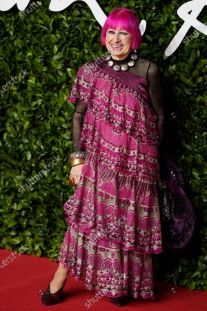 British fashion designer Zandra Rhodes arrives for The Fashion Awards at the Royal Albert Hall in Central London, Britain, 02 December 2019. The awards showcases individuals and businesses that have contributed to the British fashion industry.