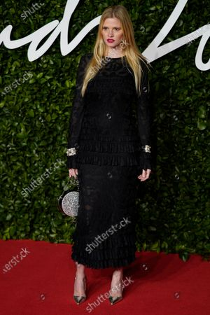 British model Lara Stone arrives for The Fashion Awards at the Royal Albert Hall in Central London, Britain, 02 December 2019. The awards showcases individuals and businesses that have contributed to the British fashion industry.