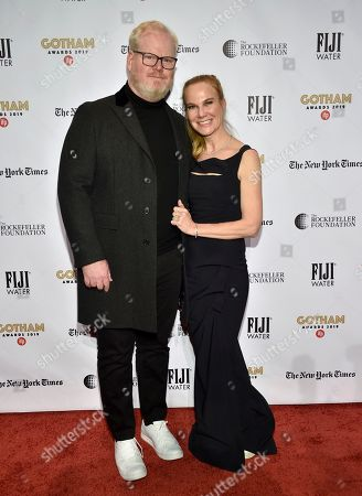 Jim Gaffigan, Jeannie Gaffigan. Jim Gaffigan, left, and Jeannie Gaffigan attend the Independent Filmmaker Project's 29th annual IFP Gotham Awards at Cipriani Wall Street, in New York