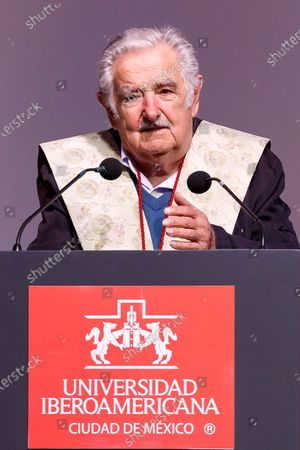 The former president of Uruguay Jose Mujica, speaks after receiving the Honoris Causa doctorate from the Universidad Iberoamericana, during an event held in Mexico City, Mexico, 02 December 2019.