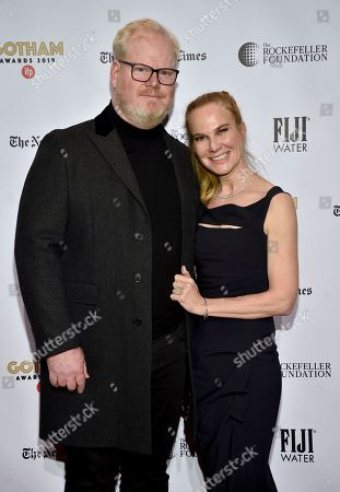 Stock Photo of Jim Gaffigan, Jeannie Gaffigan. Jim Gaffigan, left, and Jeannie Gaffigan attend the Independent Filmmaker Project's 29th annual IFP Gotham Awards at Cipriani Wall Street, in New York