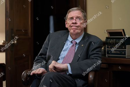 Sen. Johnny Isakson, R-Ga., meets with his staff in his office on Capitol Hill in Washington, as he prepares to deliver his farewell address on the floor of the Senate tomorrow. Isakson, a three-term senator, announced last summer that he would resign from the Senate on Dec. 31 for health reasons