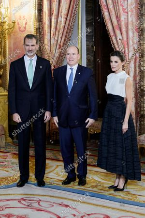 King Felipe VI, Prince Albert II of Monaco and Queen Letizia