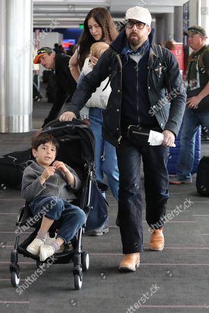 Adam Goldberg and Roxanne Daner with children Bud and Mazel
