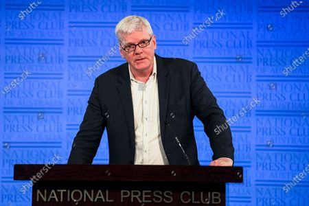 Icelandic investigative journalist and Editor-In-Chief of WikiLeaks Kristinn Hrafnsson delivers a speech at the National Press Club in Canberra, Australia, 03 December 2019. Hrafnsson is in Australia to lobby support for detained WikiLeaks founder Julian Assange.