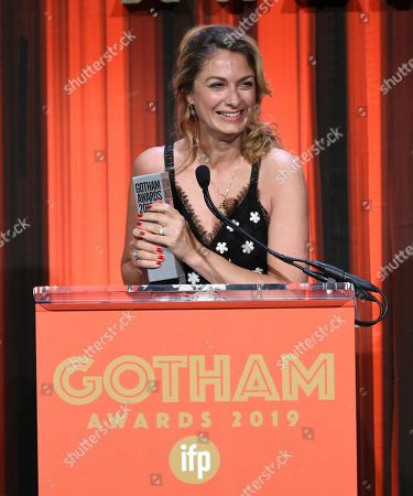 "Stock Picture of Laure de Clermont-Tonnerre accepts the Bingham Ray Breakthrough Director Award for ""The Mustang,"" at the Independent Filmmaker Project's 29th Annual IFP Gotham Awards at Cipriani Wall Street, in New York"