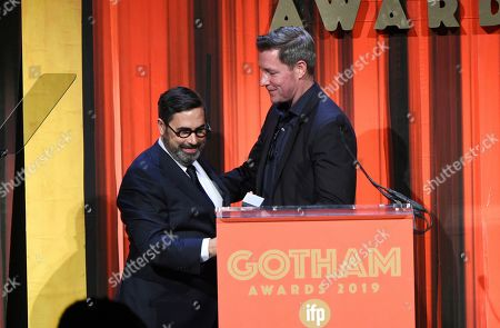 Glen Basner, Edward Burns. Director Edward Burns, right, presents a Tribute Award to producer Glen Basner at the Independent Filmmaker Project's 29th Annual IFP Gotham Awards at Cipriani Wall Street, in New York