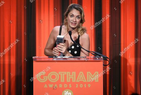 "Laure de Clermont-Tonnerre accepts the Bingham Ray Breakthrough Director Award for ""The Mustang,"" at the Independent Filmmaker Project's 29th Annual IFP Gotham Awards at Cipriani Wall Street, in New York"