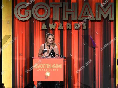 "Stock Image of Laure de Clermont-Tonnerre accepts the Bingham Ray Breakthrough Director Award for ""The Mustang,"" at the Independent Filmmaker Project's 29th Annual IFP Gotham Awards at Cipriani Wall Street, in New York"