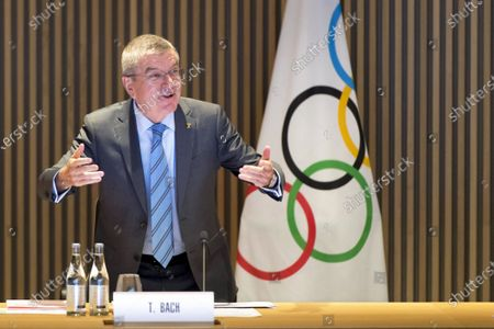 International Olympic Committee (IOC) president Thomas Bach of Germany speaks at the opening of the executive board meeting of the IOC at the Olympic House in Lausanne, Switzerland, 03 December 2019.