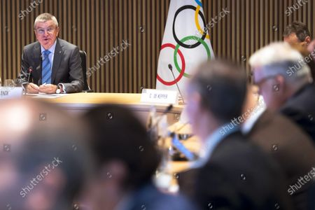 International Olympic Committee (IOC) president Thomas Bach (back L) of Germany speaks at the opening of the executive board meeting of the IOC at the Olympic House in Lausanne, Switzerland, 03 December 2019.