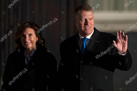 Romanian President Klaus Werner Iohannis (R) and his wife Carmen Iohannis (L) arrive at 10 Downing Street for a reception during the NATO Summit in London, Britain, 03 December 2019. NATO countries' heads of states and governments gather in London for a two-day meeting.