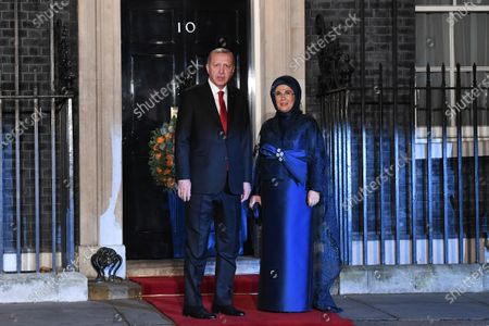 Turkish President Recep Tayyip Erdogan (L) and his wife Emine (R) at 10 Downing Street during the NATO Summit in London, Britain, 03 December 2019. NATO countries' heads of states and governments gather in London for a two-day meeting.