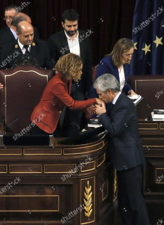 People's Party MP Adolfo Suarez Illana (R) greets Socialist Party's MP Meritxell Batet (L) after she was reelected Lower Chamber's Speaker during the opening of XVI Legislature in Madrid, Spain, 03 December 2019. A new legislature of Parliament begins in Spain, after general election held last 10 November, with doubts whether acting Prime Minister Pedro Sanchez will get enough support to be re-elected.
