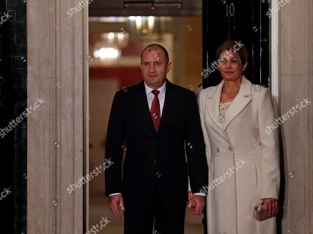 Bulgarian President Rumen Radev and his wife Desislava arrive at 10 Downing Street in London ahead of a NATO reception hosted by British Prime Minister Boris Johnson, . U.S. President Donald Trump and his NATO counterparts were gathering in London Tuesday to mark the alliance's 70th birthday amid deep tensions as spats between leaders expose a lack of unity that risks undermining military organization's credibility