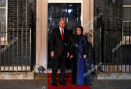Turkish President Recep Tayyip Erdogan and his wife Emine arrive at 10 Downing Street in London ahead of a NATO reception hosted by British Prime Minister Boris Johnson, . U.S. President Donald Trump and his NATO counterparts were gathering in London Tuesday to mark the alliance's 70th birthday amid deep tensions as spats between leaders expose a lack of unity that risks undermining military organization's credibility