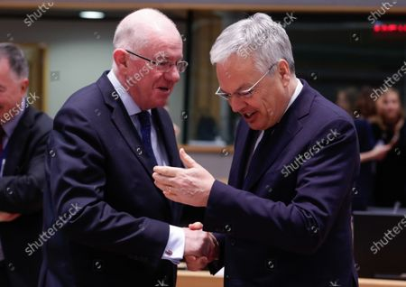 Ireland's Minister of Justice & Equality, Charles Flanagan  (L) and Didier Reynders, European Commissioner for Justice during a Justice and Home Affairs Council at the European Council in Brussels, Belgium, 03 December 2019.