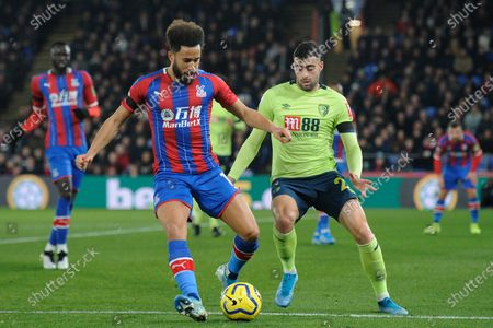 Andros Townsend of Crystal Palace and Diego Rico of AFC Bournemouth in action during the Premier League match between Crystal Palace and AFC Bournemouth at Selhurst Park in London, UK - 3rd December 2019