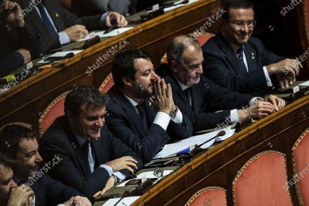 Senators of Lega party Gian Marco Centinaio, Matteo Salvini, Roberto Calderoli
