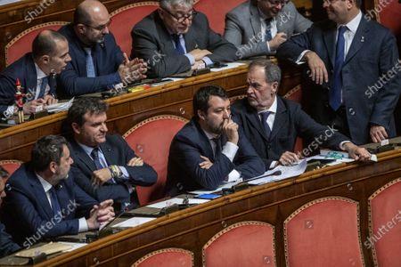 Senators of Lega party, Gian Marco Centinaio and Matteo Salvini