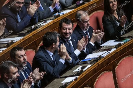 Senators of Lega party, Gian Marco Centinaio, Matteo Salvini, Roberto Calderoli