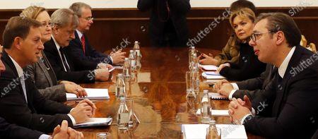 Serbian President Aleksandar Vucic (R) with Slovenian Foreign Minister Miro Cerar (L) during a meeting in Belgrade, Serbia, 03 December 2019.