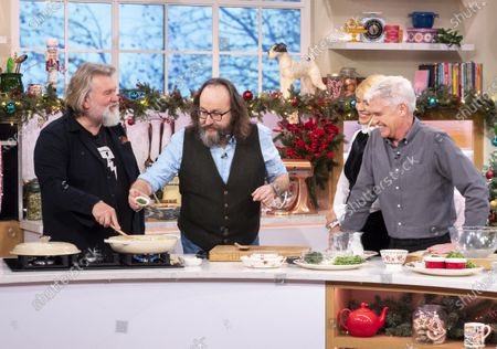 Stock Photo of Phillip Schofield and Holly Willoughby with The Hairy Bikers - Dave Myers and Simon King