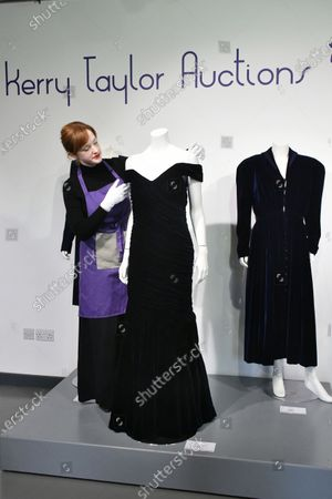 (L-R) Lot 239, Princess Diana's navy wool day dress by Catherine Walker, circa 1989, estimate £4,000-6,000. Lot 237, Princess Diana's midnight-blue velvet evening gown by Victor Edelstein, estimate £250,000-350,000. Lot 238  Princess Diana's midnight-blue velvet, by British designer Katherine Cusack, 1986, estimate £20,000-30,000