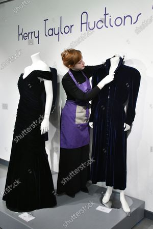 (L) Lot 237, Princess Diana's midnight-blue velvet evening gown by Victor Edelstein, estimate £250,000-350,000 and (R) Lot 238  Princess Diana's midnight-blue velvet, by British designer Katherine Cusack, 1986, estimate £20,000-30,000