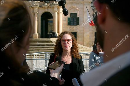 """EU special enjoy Sophia in 't Veld is seen talking to the press outside Castille, in Valletta, Malta, after a short meeting with the Prime Minister of Malta Joseph Muscat after an investigation into the murder of leading investigative journalist Daphne Caruana Galizia implicated Prime Minister Joseph Muscat's chief of staff. Sophia in 't Veld said outside the prime minister's office that """"it is difficult to see how credibility of the office can be upheld"""