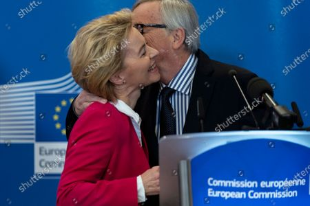 Stock Picture of Former European Commission President Jean-Claude Juncker (R) speaks during an official handover ceremony to European Commission President Ursula Von Der Leyen (L) at the European Commission in Brussels, Belgium, 03 December 2019.