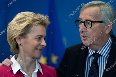 Former European Commission President Jean-Claude Juncker (R) and European Commission President Ursula Von Der Leyen (L) during an official handover ceremony at the European Commission in Brussels, Belgium, 03 December 2019.