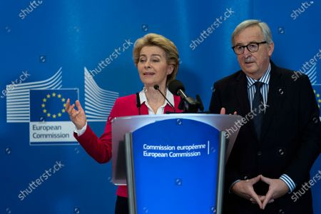 Stock Image of Former European Commission President Jean-Claude Juncker (R) and European Commission President Ursula Von Der Leyen (L) during an official handover ceremony at the European Commission in Brussels, Belgium, 03 December 2019.