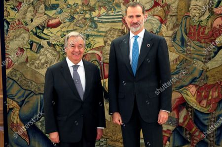 Spain's King Felipe VI (R) with UN Secretary-General, Antonio Guterres, during an audience at La Zarzuela Palace, in Madrid, Spain, 03 December 2019. Guterres is in Madrid to attend COP25 summit running in the capital until 13 December.