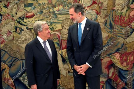 Spain's King Felipe VI (R) chats with UN Secretary-General, Antonio Guterres, during an audience at La Zarzuela Palace, in Madrid, Spain, 03 December 2019. Guterres is in Madrid to attend COP25 summit running in the capital until 13 December.