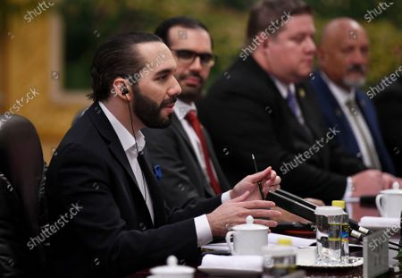 El Salvador's President Nayib Bukele (L) speaks during a meeting with China's Prime Minister Li Keqiang at the Great Hall of the People in Beijing, China, 03 December 2019.