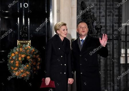 Agata Kornhauser-Duda and Andrzej Duda attend a reception at No.10 Downing Street with foreign leaders ahead of the NATO meeting in London.