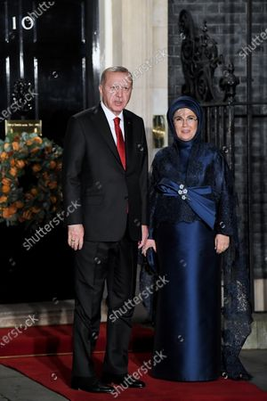 Turkish President Recep Tayyip Erdogan and his wife Emine attend a reception at No.10 Downing Street ahead of the NATO meeting in London.