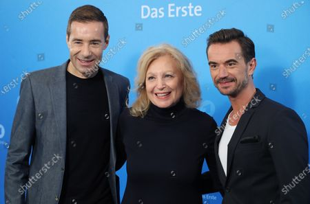 German TV presenter Kai Pflaume, actress Maren Kroymann and entertainer Florian Silbereisen during a photo call before the annual press conference of the German ARD broadcaster in Hamburg, 03 December 2019. The ARD is the working group of German public broadcasters with ten members throughout the country.