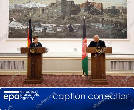 (CORRECTION) - This is to amend image epa08041628 issued on 03 December 2019, correcting namew of Afghanistan President to Ashraf Ghani (not: Hamid Karzai). The revised caption reads:   epa08041628 German Defense Minister Annegret Kramp-Karrenbauer (L) and Afghan President Ashraf Ghani talk with journalists during a press conference in Kabul, Afghanistan, 03 December 2019. Annegret Kram-Karrenhauer said that she supported an extension of German participation in the NATO mission in Afghanistan.