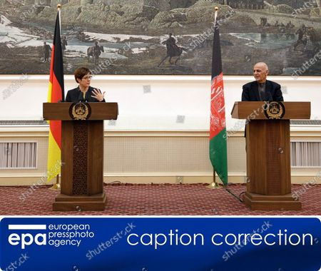 (CORRECTION) - This is to amend image epa08041629 issued on 03 December 2019, correcting namew of Afghanistan President to Ashraf Ghani (not: Hamid Karzai). The revised caption reads:   epa08041629 German Defense Minister Annegret Kramp-Karrenbauer (L) and Afghan President Ashraf Ghani talk with journalists during a press conference in Kabul, Afghanistan, 03 December 2019. Annegret Kram-Karrenhauer said that she supported an extension of German participation in the NATO mission in Afghanistan.